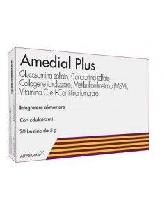 AMEDIAL Plus - Glucosamina e Condroitina solfato con MSM e Collagene Astuccio con 20 bustine da 5 g cad