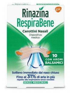 Rinazina RespiraBene Cerottini Nasali 10 cerottini nasali con Aromi Balsamici